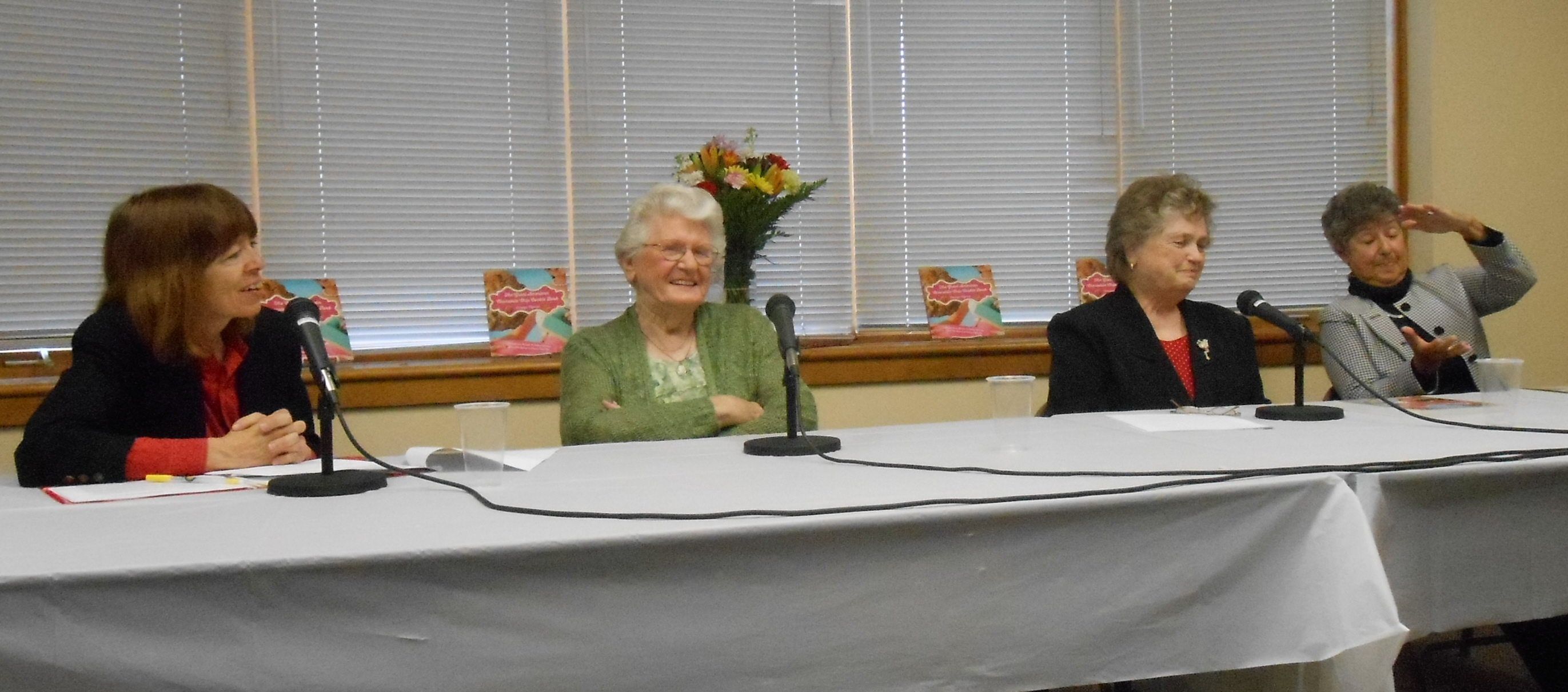 Saturday's panel (L to R): Me and ex-Toll House waitresses Marguerite Gaquin, June O'Leary and Carol Cavanagh